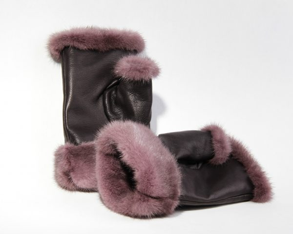 Buy Real Fur Mink Fingerless Mittens Violet