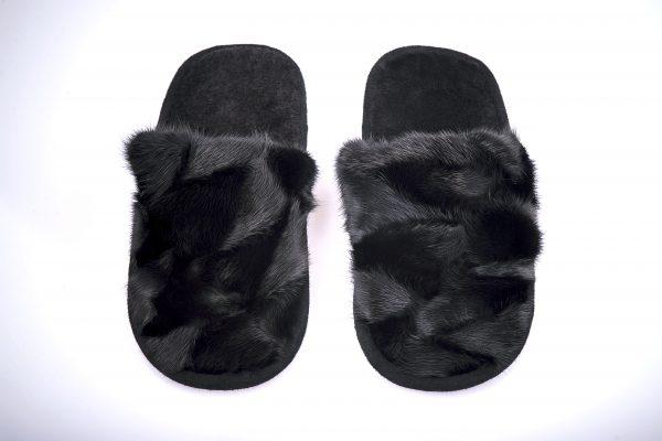 Buy Slippers Kids and Teens Real Mink Black Last Pair
