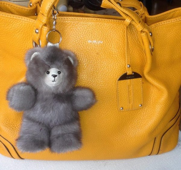 Buy Bear Real Fur Mink Gray Keychain