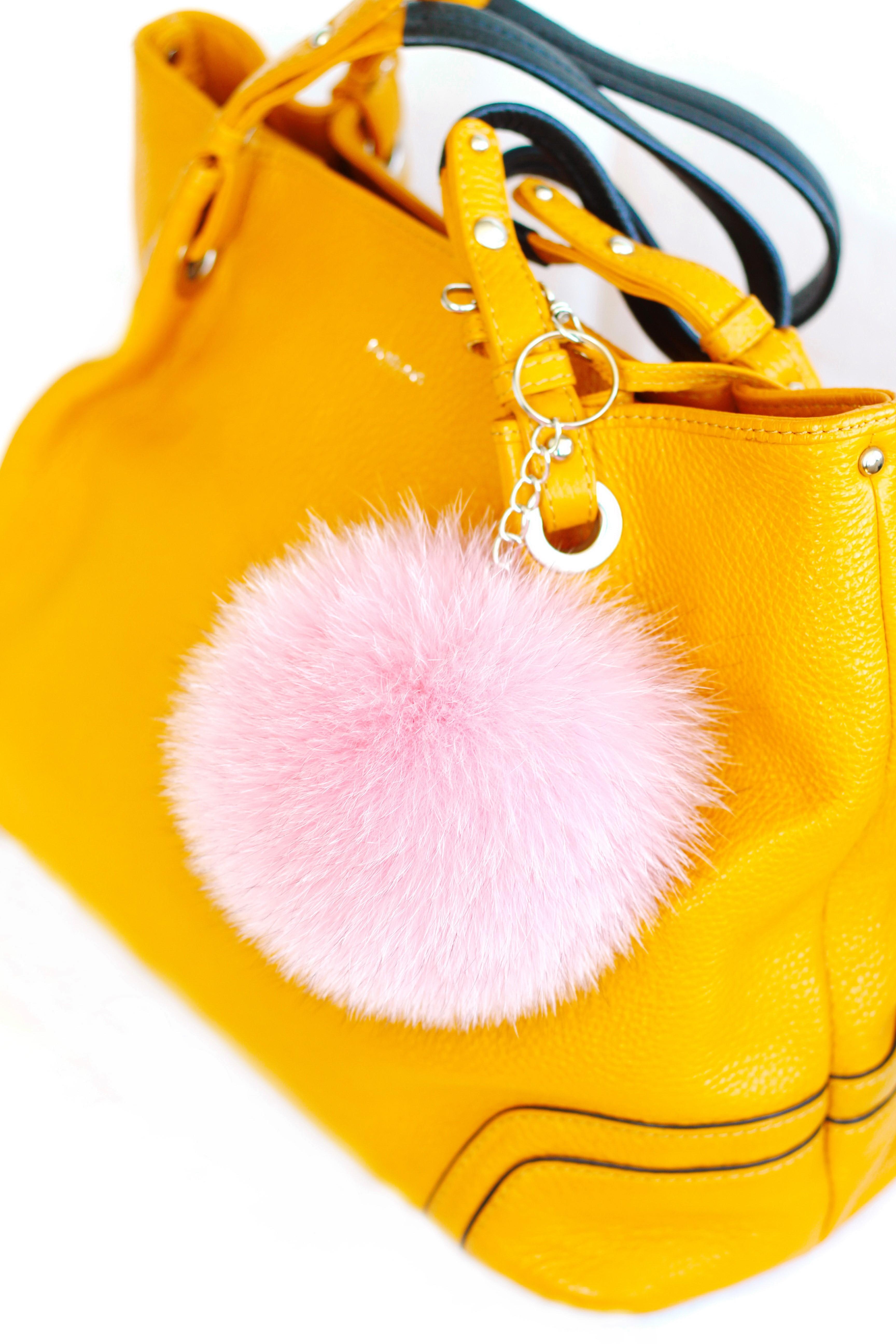 Buy Pom Pom Real Fur Polar Fox Bag Charm Pendant Pink