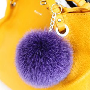 Buy Pom Pom Real Fur Polar Fox Bag Charm Pendant Purple