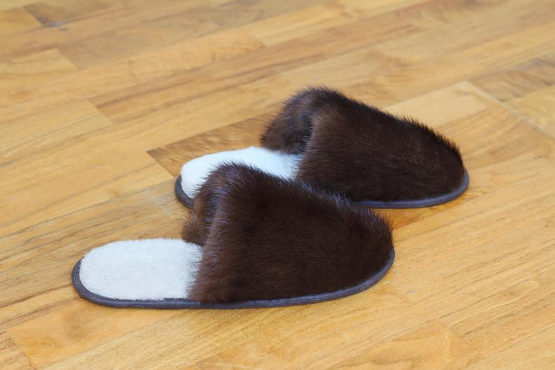 Buy Women's Slippers Real Mink Brown