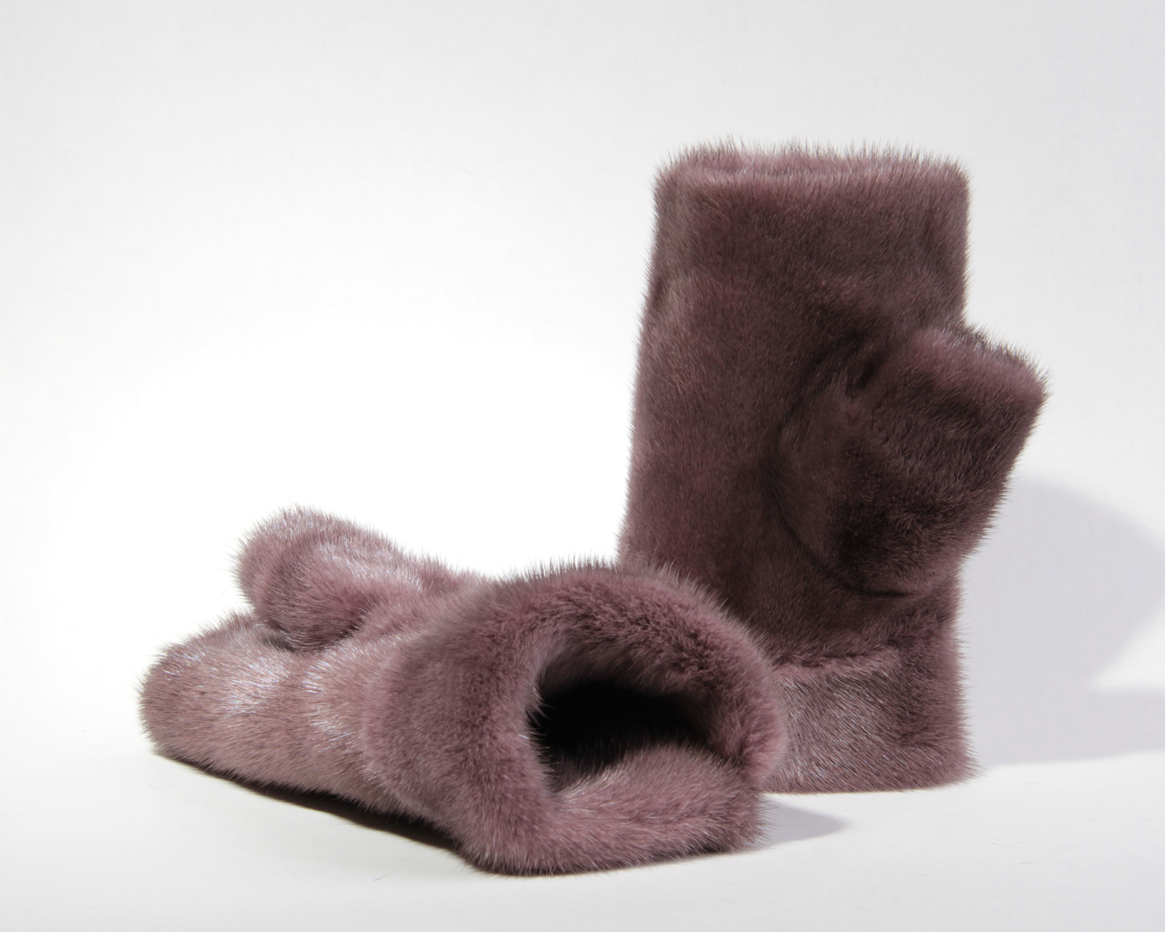 Buy Women Fingerless Mittens Violet Real Fur Mink