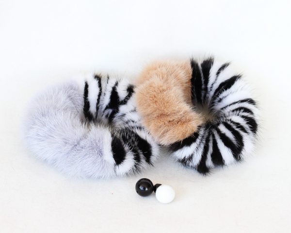 Buy Hair Scrunchie Real Mink Pastel striped White and Black