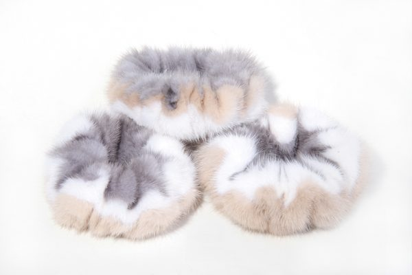 Buy Hair Scrunchie Real Mink tricolor Beige White Gray