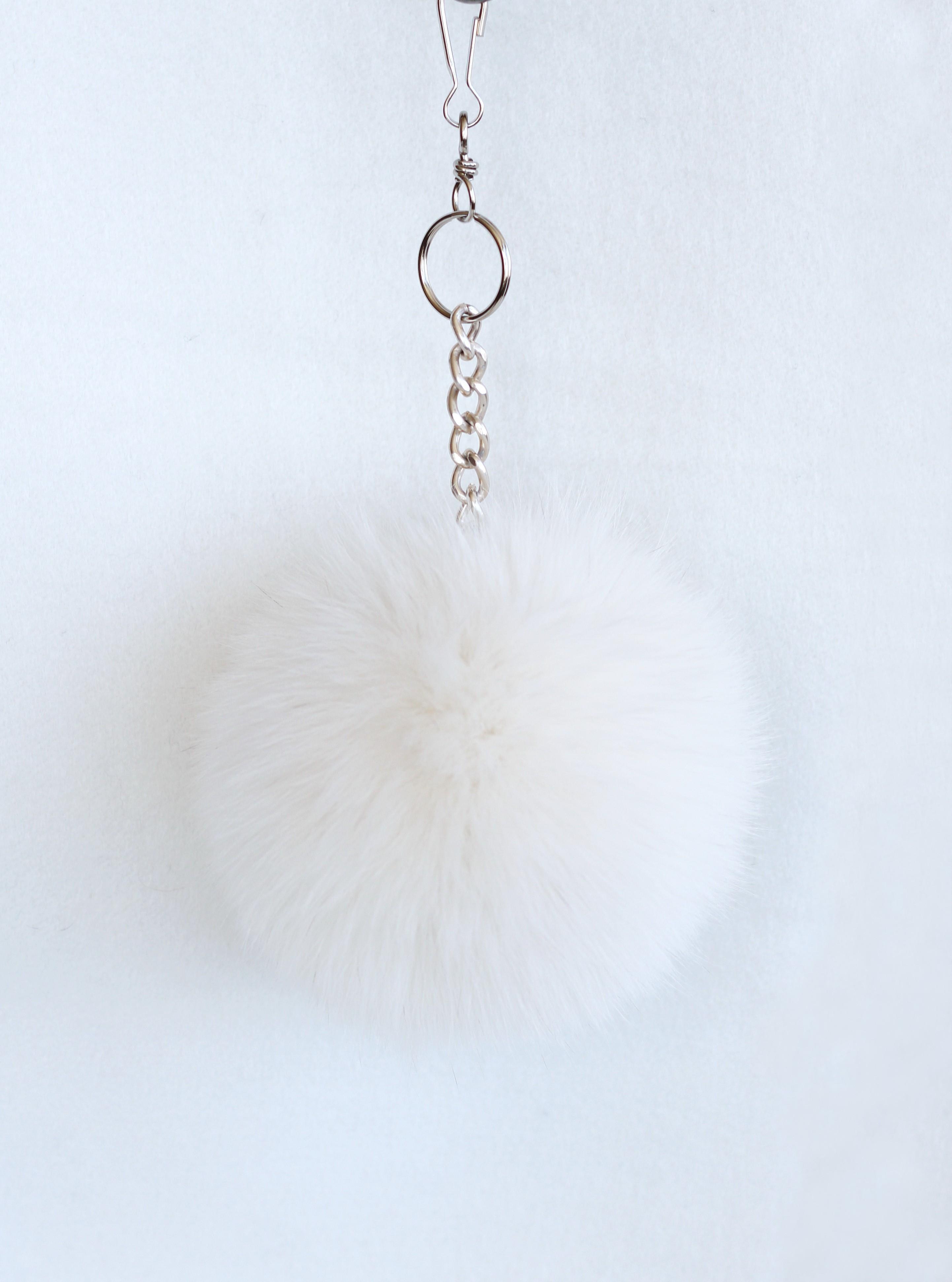 Buy Pom Pom Real Fur Polar Fox Bag Charm Pendant White