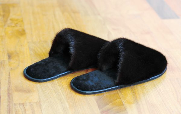 Buy Men's Slippers Real Mink Brown