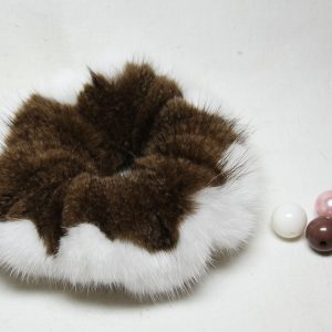 Buy Hair Scrunchie Real Mink Brown White
