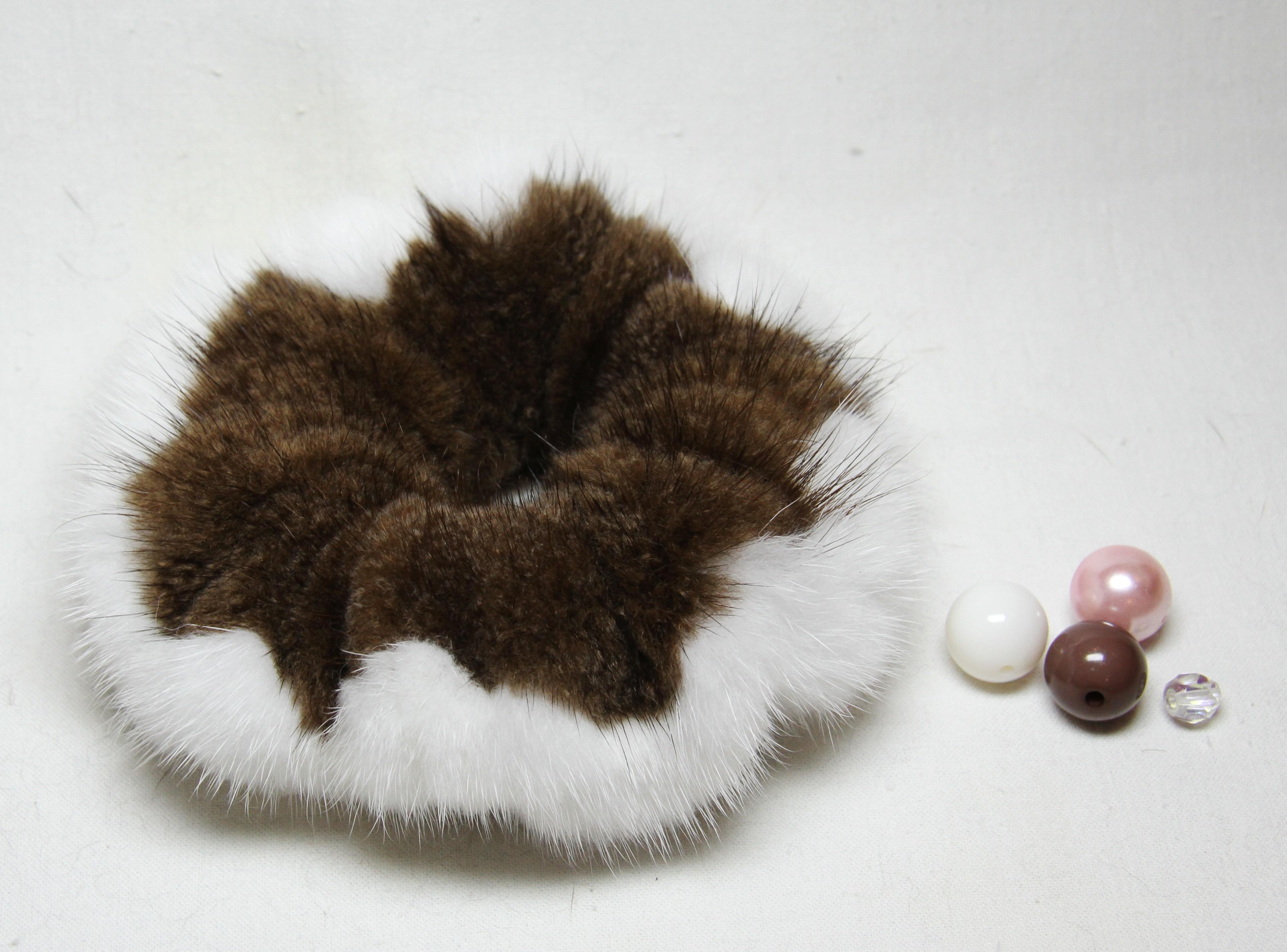 Buy Hair Scrunchie Real Mink Brown White