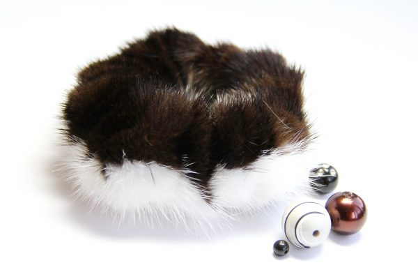 Buy Hair Scrunchie Real Mink Biege and Brown