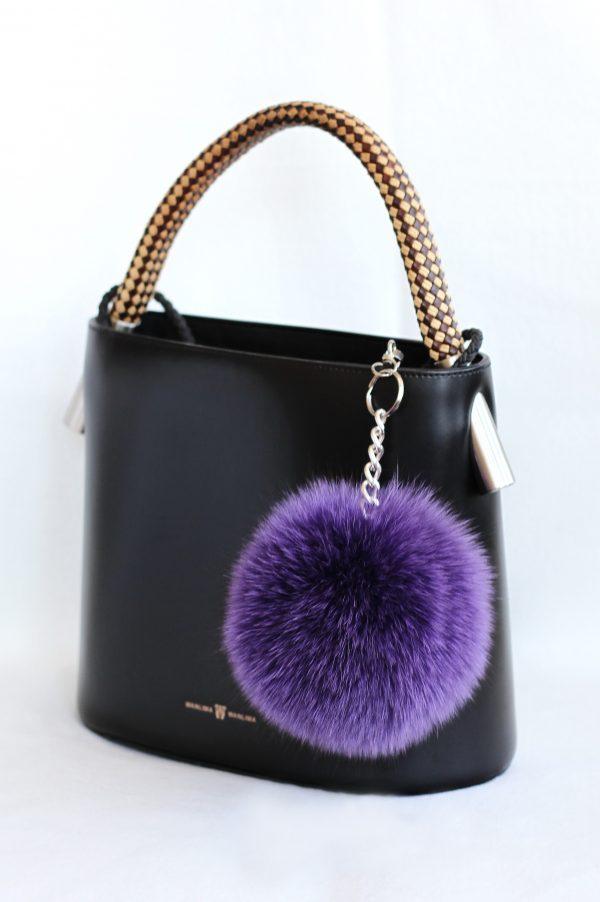 Buy Pom Pom Real Fur Polar Fox Bag Charm Pendant Purple