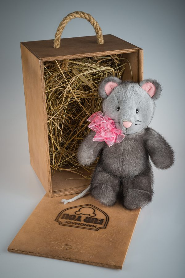 Buy Mouse Real Fur Mink Gray