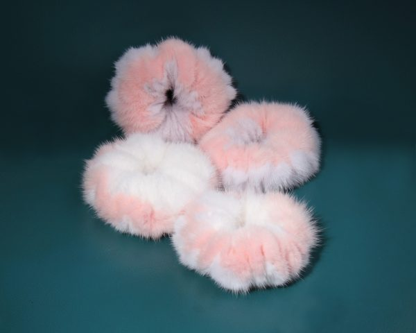 Buy Hair Scrunchie Real Mink double color Light Pink and White