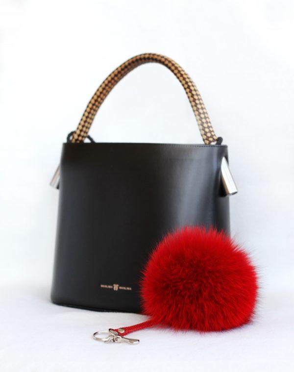 Buy Pom Pom Real Fur Polar Fox Bag Charm Pendant Red