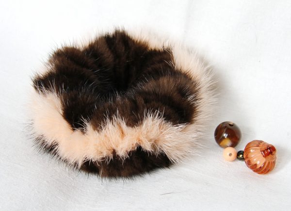 Buy Hair Scrunchie Real Mink double color Peach and Brown