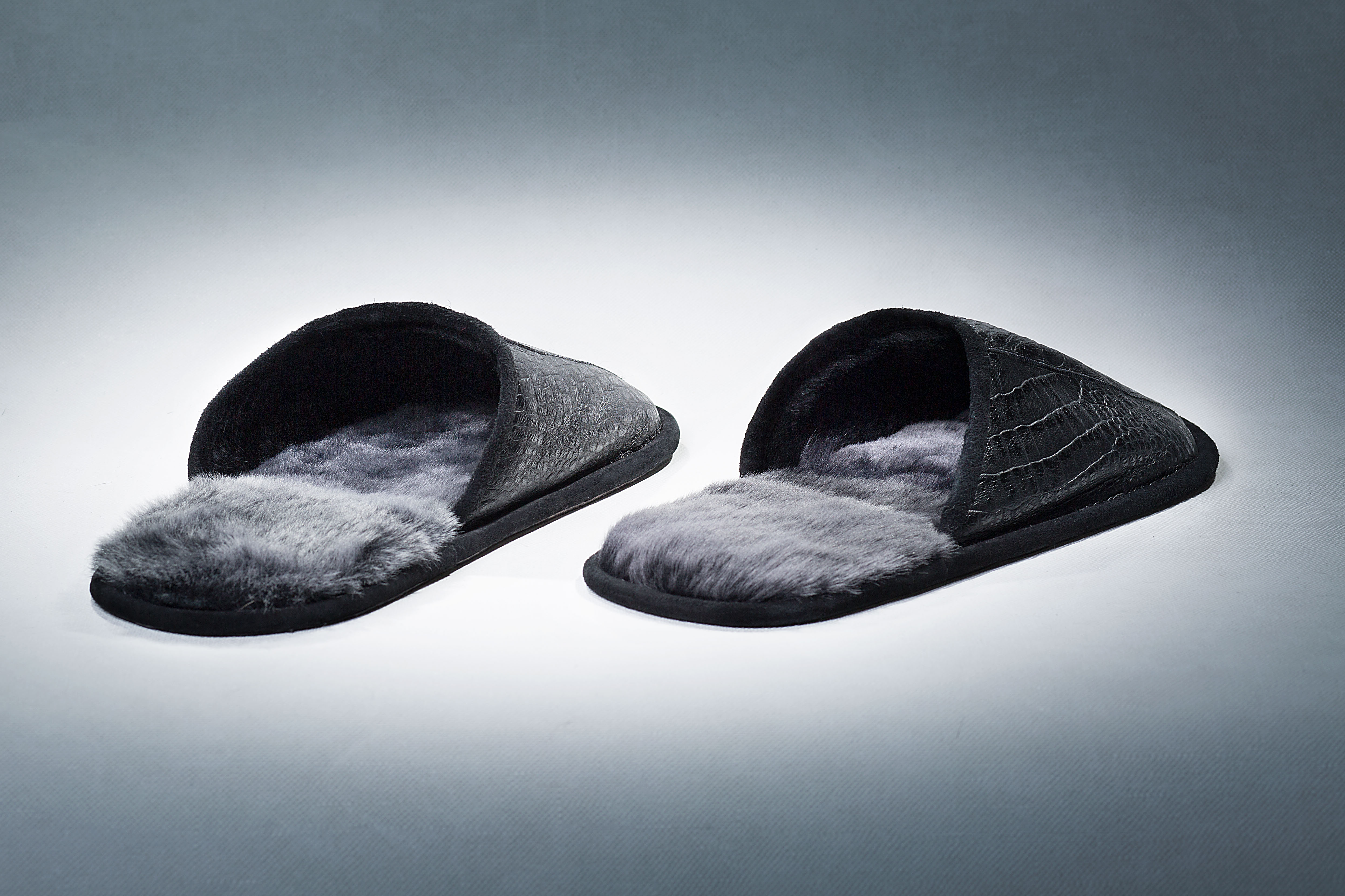 "Buy Slippers Man Real Tanned Fur With ""Crocodile"" Cover Black  Last Pair"