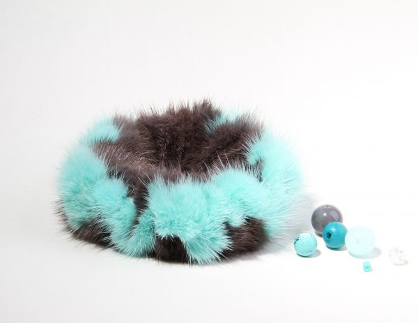 Buy Hair Scrunchie Real Mink Turquoise and Gray