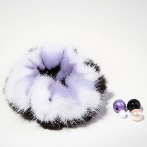 Buy Hair Scrunchie Real Fur Mink Purple White Black