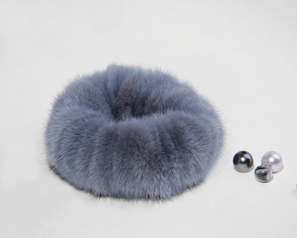 Buy Hair Scrunchie Real Fur Mink Gray