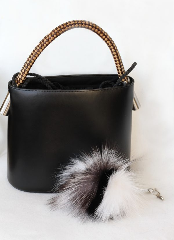 Buy Pom Pom Real Fur Bag Charm Pendant Mix Gray White