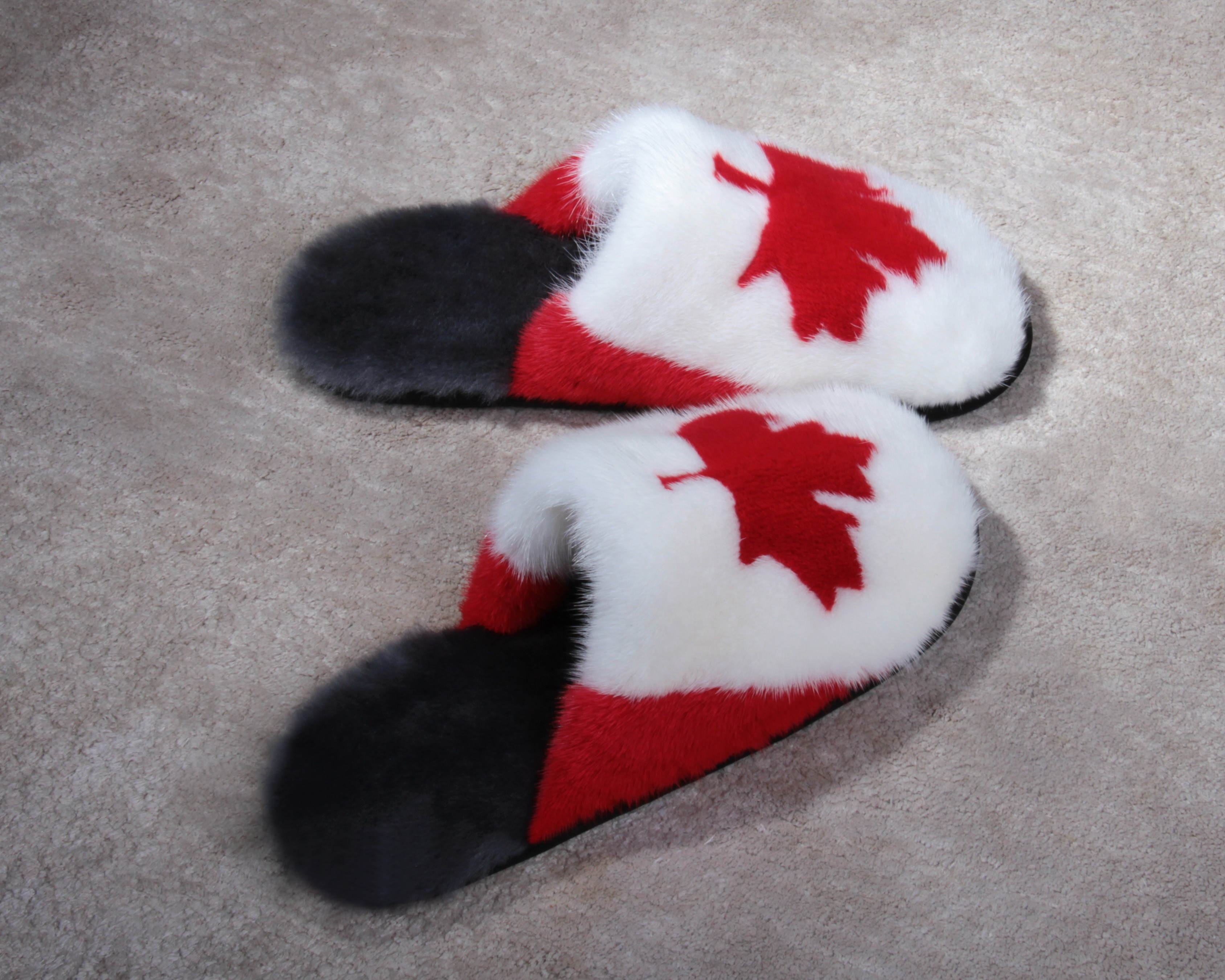 Buy Women's Slippers Real Mink Canadian Flag