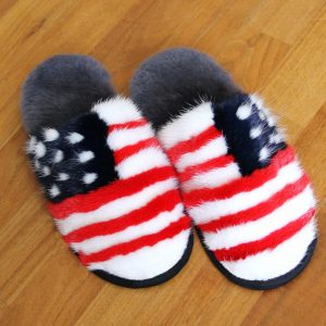 Buy Women's Slippers Real Mink American Flag