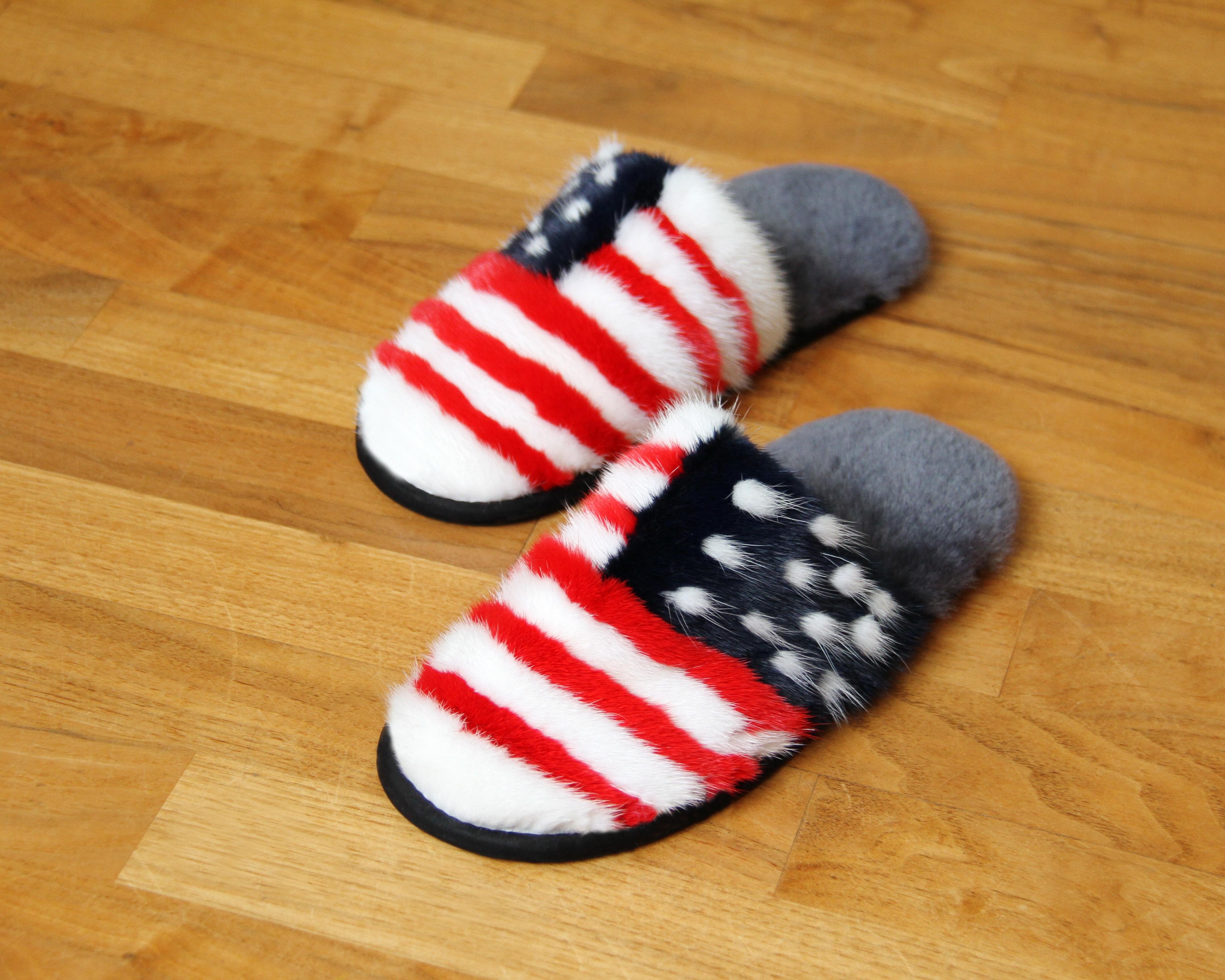 Buy Women's Slippers Real Mink American Flag