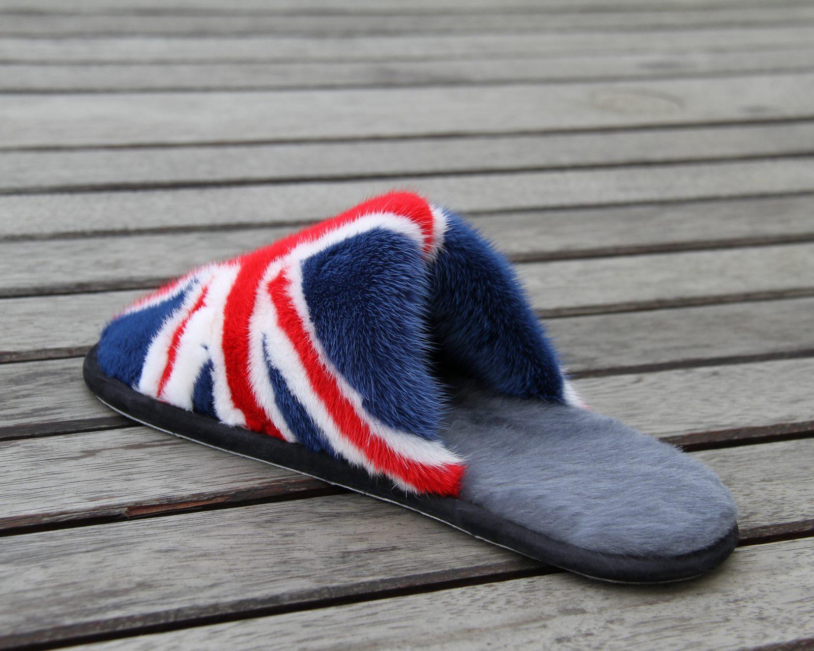 Buy Women's Slippers Fur Union Jack Flag